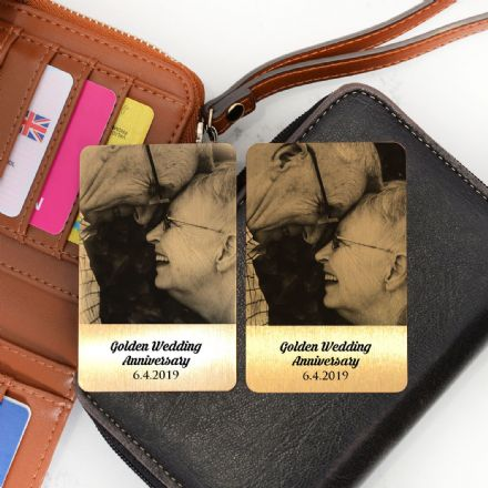 Personalised Golden Anniversary Metal Photo Cards Set